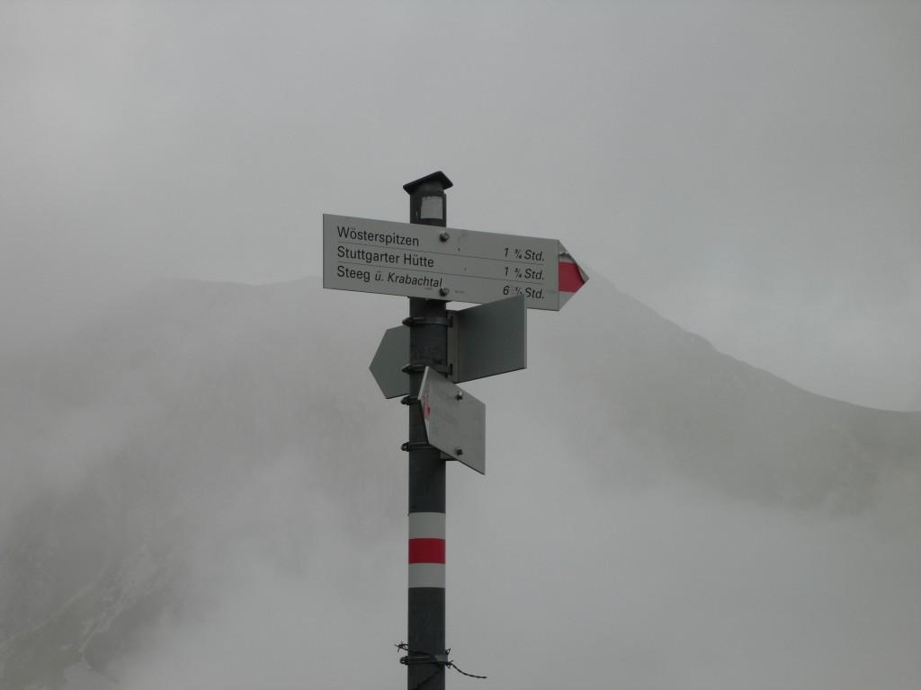Der Wegweiser zur Stuttgarter Hütte