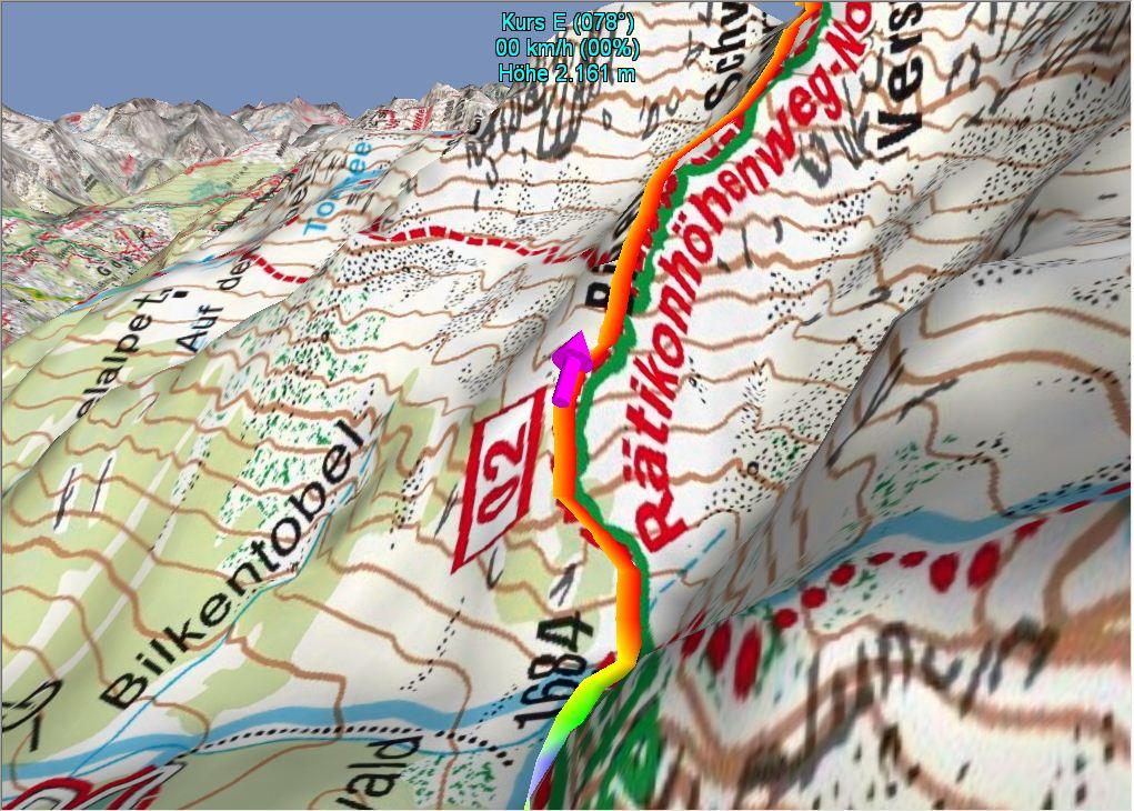 3-D-Darstellung des Weges von der Lindauer Hütte zur Tilisunahütte